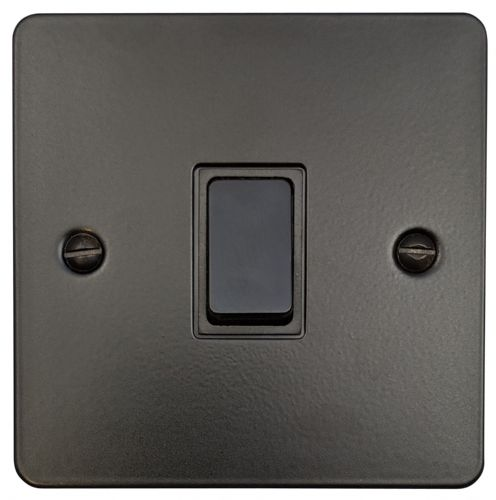 G&H FFB5B Flat Plate Matt Black 1 Gang Intermediate Rocker Light Switch
